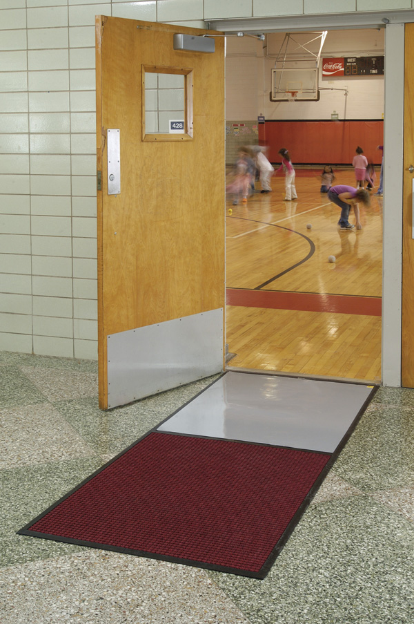 Carpeted gym floor sticky mats are clean room by