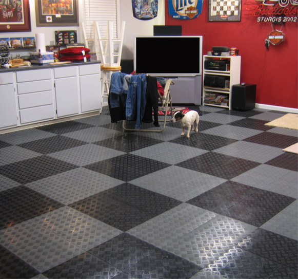 Tracstep interlocking garage tiles are