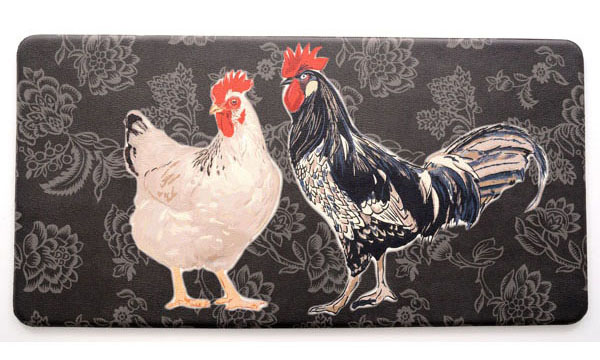 Kitchen Anti Fatigue Mats: Two Roosters Black Mat