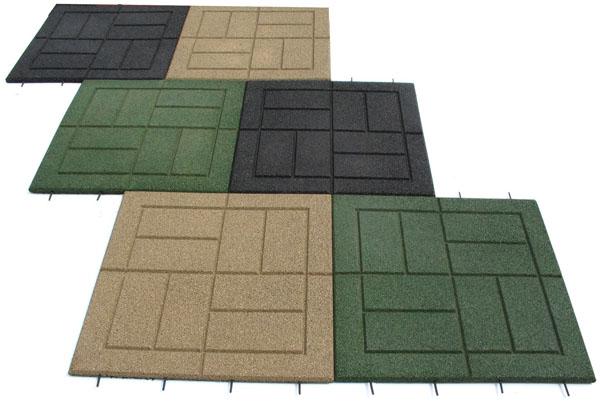 Rubber paver tiles