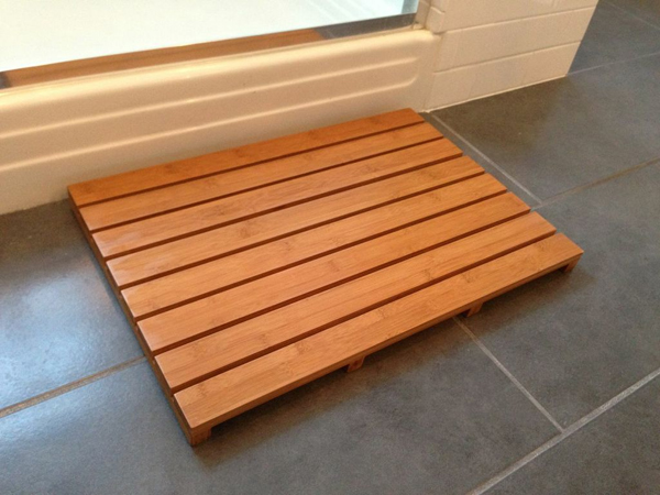 Wooden bath mats are wood shower mats by american floor mats for Wood floor mat