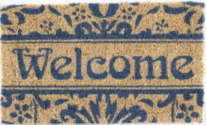 Damask Welcome Handwoven Coconut Fiber Doormat