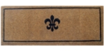 Black Fleur Di Lys Coir Door Mats Long
