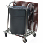 Rolling Trash and Mat Rack